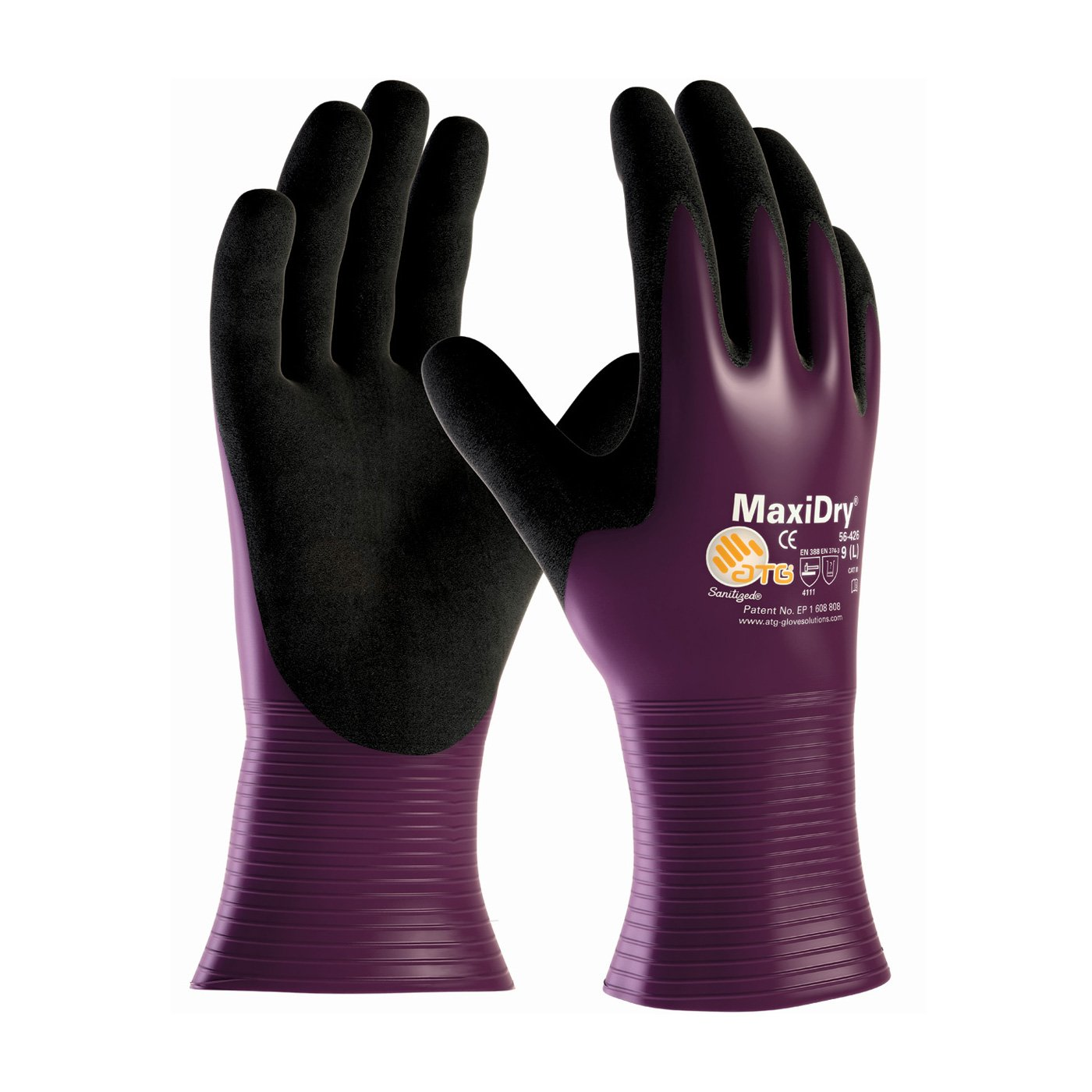 ATG 56-426/10 Gauntlet Silicone Free Nitrile Safety and Work Wear Gloves, Purple, X-Large