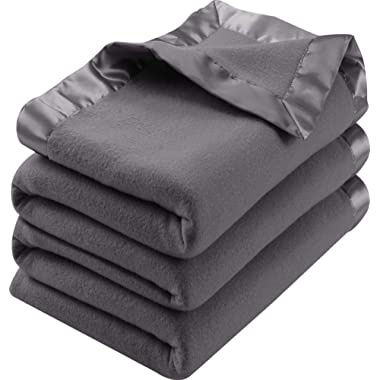 Polar Fleece Premium Bed Blanket with Sateen Ribbon Edges - Extra Soft Brushed Microfiber - Lightweight, Cozy and Durable - Machine Washable (Queen, Grey)