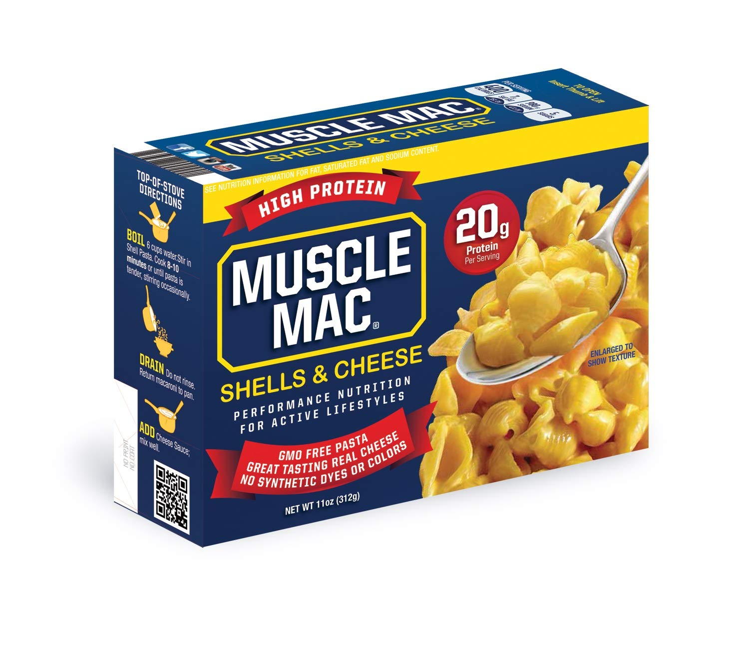 Muscle Mac | Shells & Cheese Pasta For All Ages, 20 Grams Of Protein Per Serving And Real Cheese, 12 PACK by