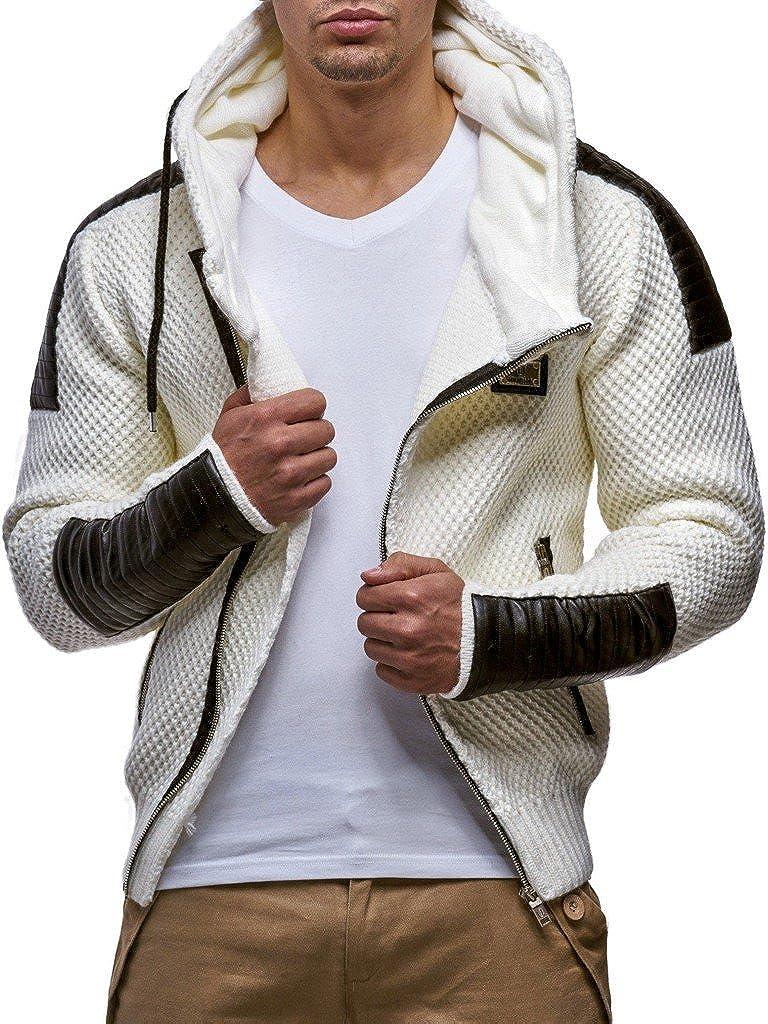 LEIF NELSON Herren Strick-Jacke mit Reiß verschluss | Casual Strick-Hoodie Slim Fit | Moderner Mä nner Strick-Cardigan Langarm Kleidung Mä nner 5015