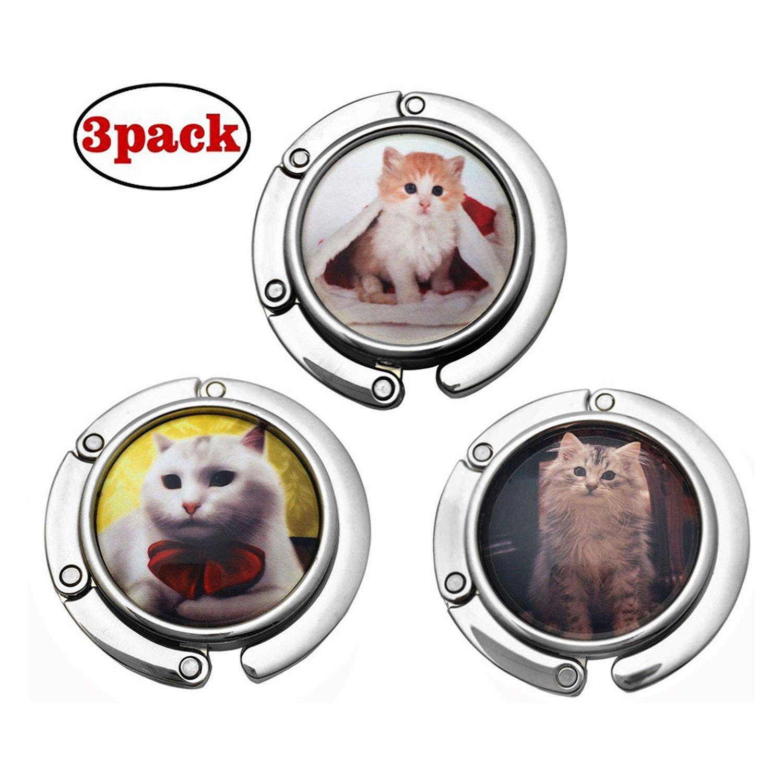 GuaziV 3pc Theme Designed Shoulder Handbag Folding Purse Holder Hangers Hooks Set(Cats) (Style 2)