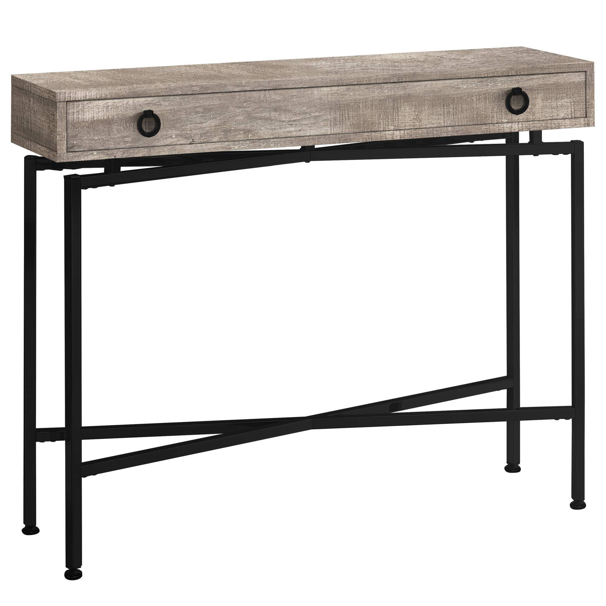 Monarch Specialties I I 3455 Console Sofa Accent Table, 42'' L, Taupe Reclaimed Wood-Look/Black Base by Monarch Specialties