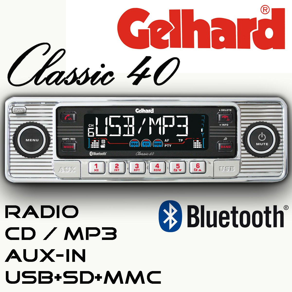 Gelhard Classic 40 'Retro Look' RDS Autoradio CD MP3 USB SD + Bluetooth Freisprecheinrichtung