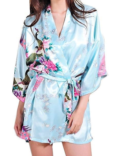 DELEY Mujer Albornoces Kimono Pavo & Flores Satén Pijamas Exóticos Ropa De Dormir Bata Corto Talla