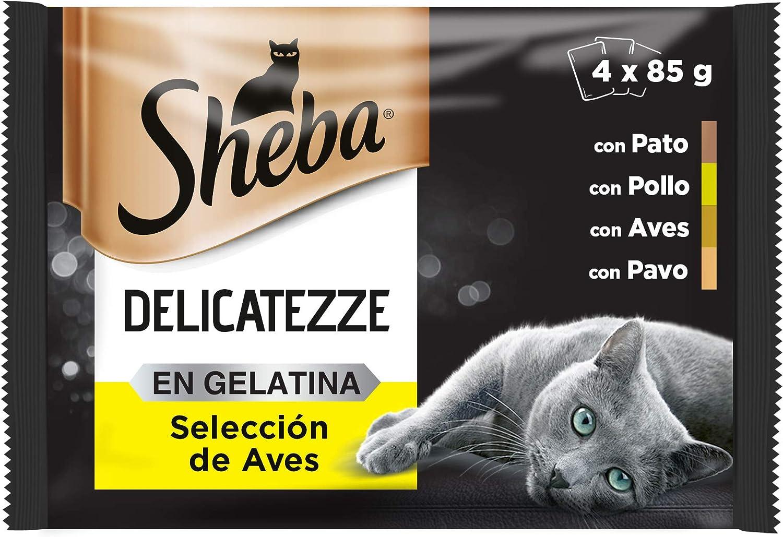 Sheba Delicatezze Multipack Bolsitas de Comida Húmeda para Gatos Selección de Aves en Gelatina (13 cajas x 4 sobres x 85g)