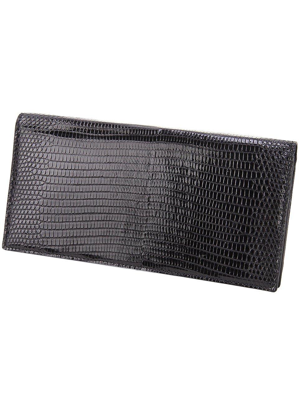 ペッレモルビダ 二つ折り長財布 本革 バルカ リザードレザー メンズ LI003 B01M5D850O ブラック