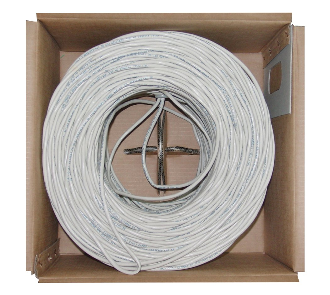 Offex Bulk Cat6 White Ethernet Cable, Stranded, UTP (Unshielded Twisted Pair), Pullbox, 1000' (OF-10X8-091SH)