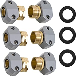 6 Pack Garden Hose Repair Fittings with Clamps, Male and Female Hose Repair Kit Solid Full-Brass Water Hose Connector Clamp Hose Mender for All 3/4-inch or 5/8-inch Garden Hose