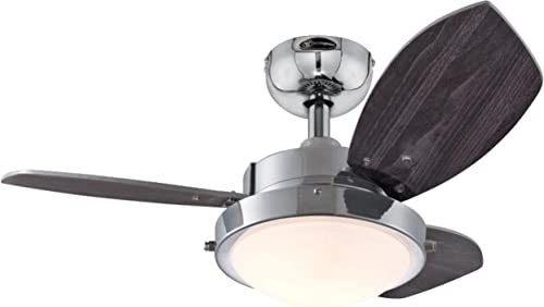 Westinghouse Lighting 7876300 Wengue Ceiling Fan with Light, 30 Inch, Chrome