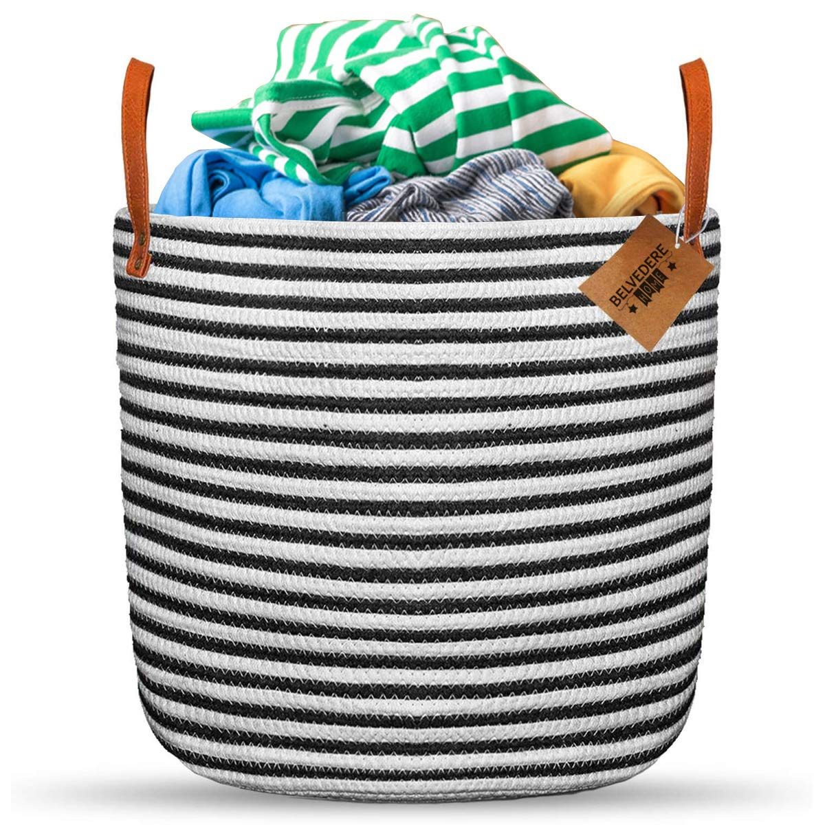 Extra LargeCotton Laundry Basket and Toy Bin Organizer with Leather Handles; Chic Natural Woven Rope Storage Container for Laundry, Toys, Blankets and Everyday use.