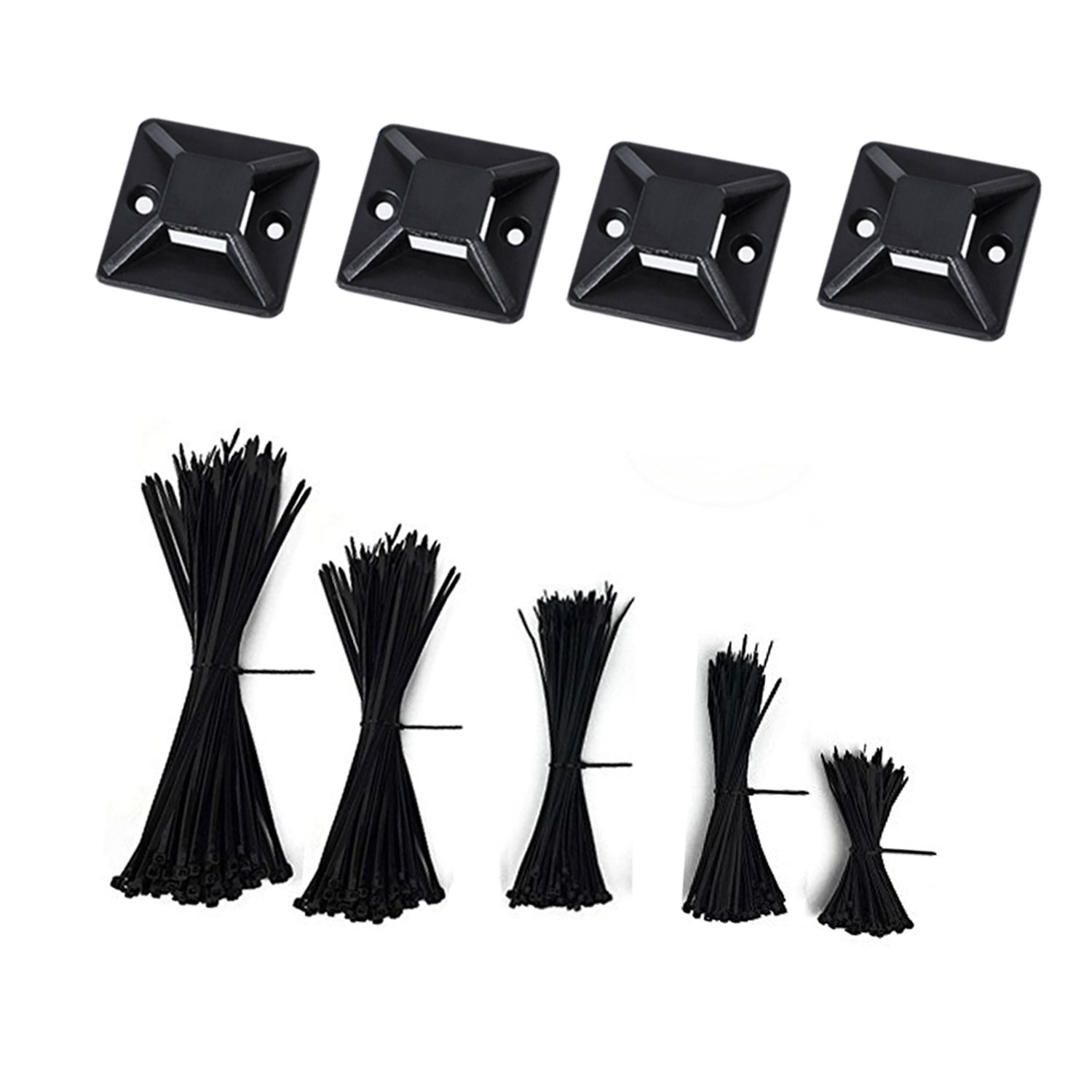 Nylon Cable Zip Ties - 4 6 8 10 12 Inches,500pcs with 50pcs Self Adhesive Cable Zip Tie Mounts for Home Ofiice Workshop by LanGui (Image #7)