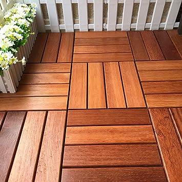 De espesor de alta calidad piso impermeable 30 * 30cm 6pcs jardín y al patio decorativa azulejos Suelo de madera suelo de mosaico balcón terraza al aire libre de la decoración: Amazon.es: