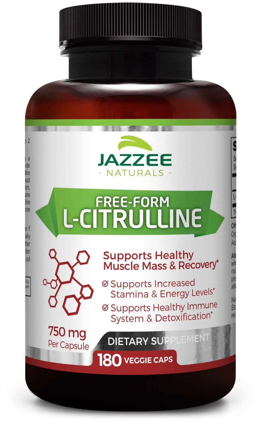 Free-Form L-Citrulline Malate | 750 mg | 180 Veggie Capsules | up to 6-Month Supply | Vegetarian/Vegan | Stabilized Organically | Supports Endurance, Stamina, and Energy