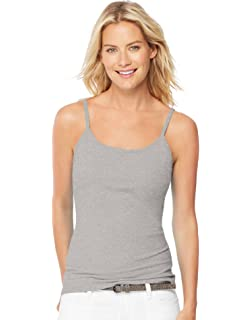 061eaba32d Hanes Women s Stretch Cotton Cami with Built-in Shelf Bra at Amazon ...