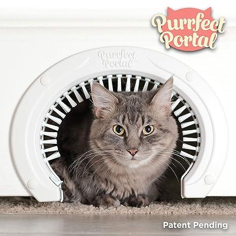 Purrfect Portal Puerta para gatos para puertas interiores con ...