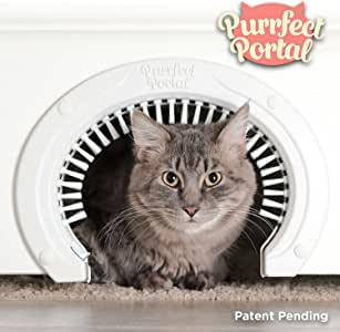 Purrfect Portal Cat Door for Interior Doors with Grooming Brush - Large Pet Cat Pass for Adult Cats up to 20 Lbs - Easy to Install Pet Door w/Brush Plus Detailed Instructions, Screws & Screw Caps