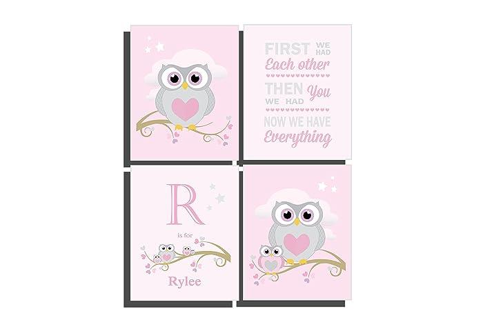 Amazon.com: Owl Nursery Wall Art Girls Pink Bedroom Decor Customize ...