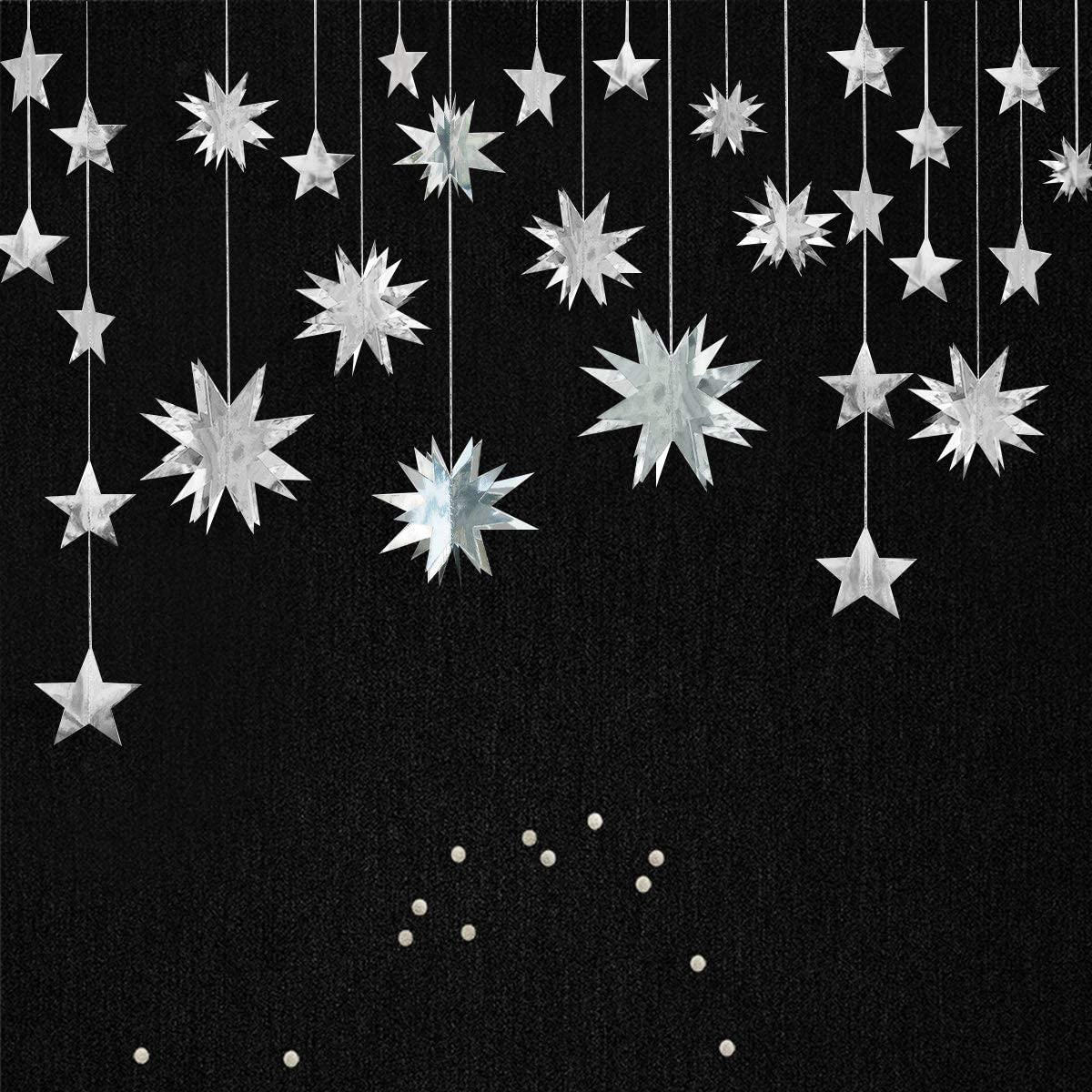 QA/_ HANGING CHRISTMAS STAR 3D ORNAMENT BANNER STRING WINDOW MALL XMAS DECOR OP