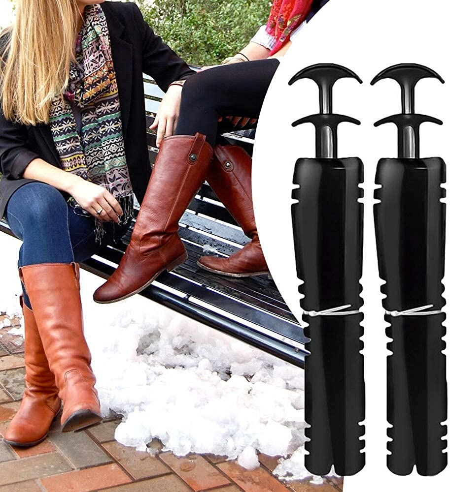 1 Pairs Boot Tree Plastic Black Automatic Boot Shaper Holder Metal Knee High Tall Boots Shoes Support Stands Form Shaping Inserts Lady Womens Mens Shoes
