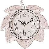 eCraftIndia Leaf Shape Retro Silver Wall Clock