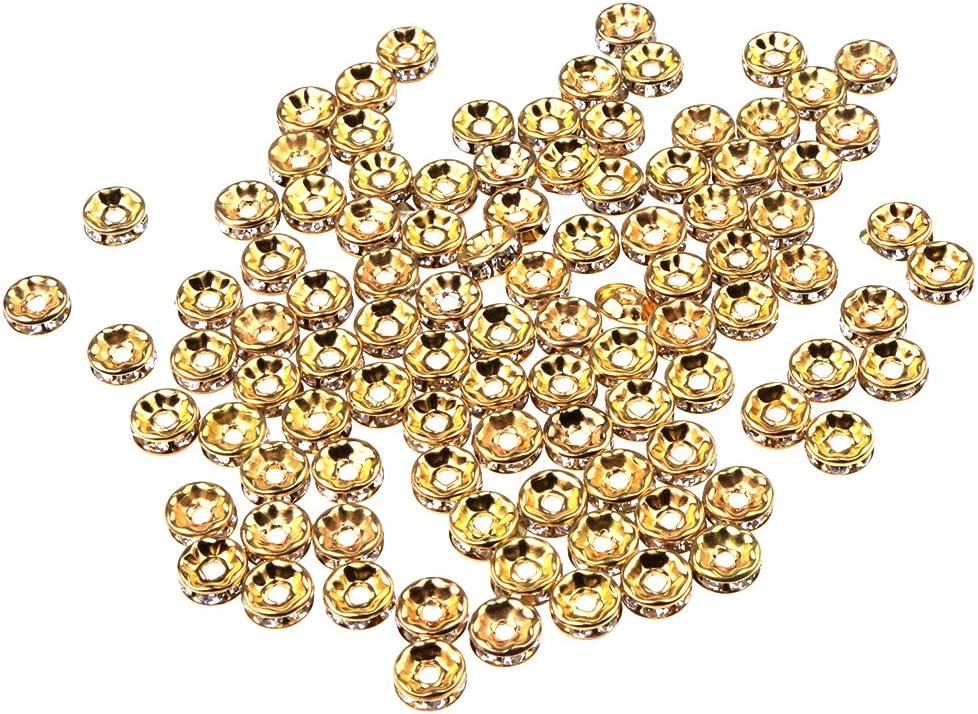 Jili Online 100 Pieces Rhinestone Round Rondelle Spacer Bead for DIY Jewelry Making Crafts Findings 6mm 8mm 6mm Silver