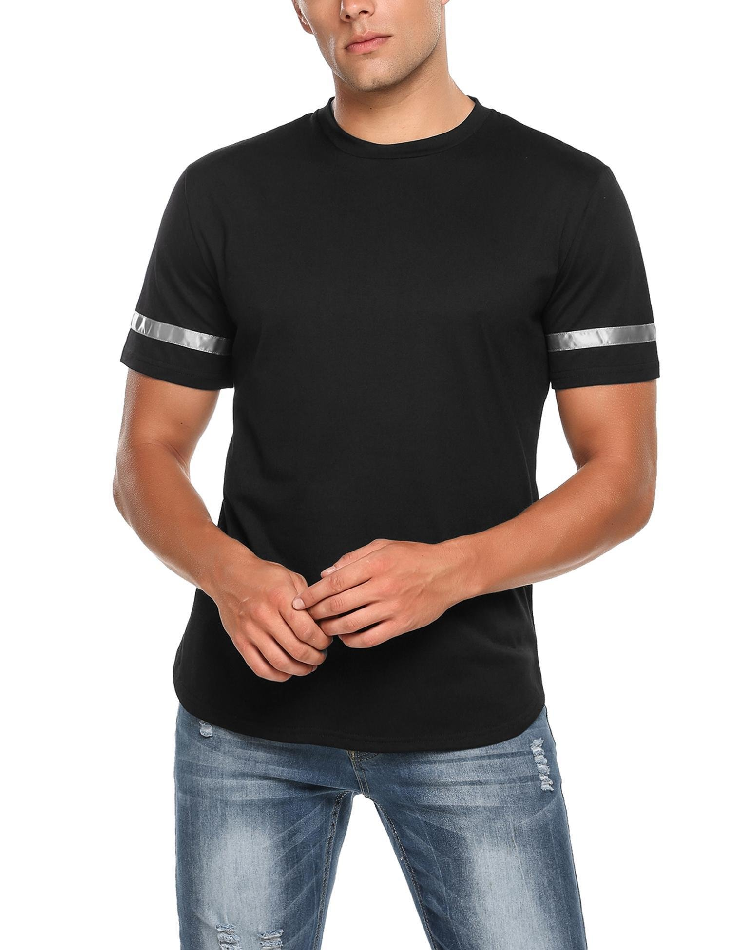 HOTOUCH Men's Crew Neck Rugged Outdoor Summer Short Sleeve Causal Stripes T-Shirt,Black,Small