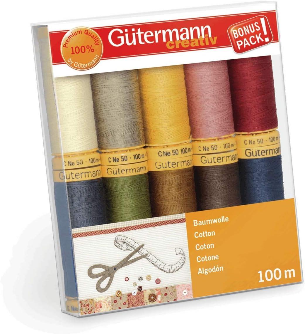 Gutermann 734521-3 - Juego de hilos (algodón natural, 50 rollos de ...