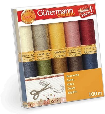 Gutermann Colorful Cotton 50 Mercerized Thread Set 20 x 100m Reels