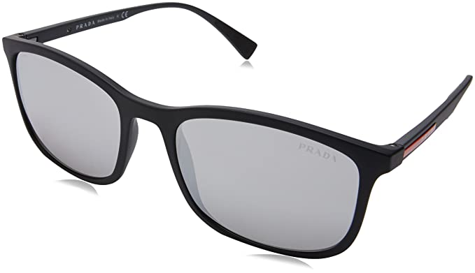 0e223d0b614e6 Prada Linea Rossa Men s 0PS 01TS Black Rubber Light Grey Mirror Silver One  Size