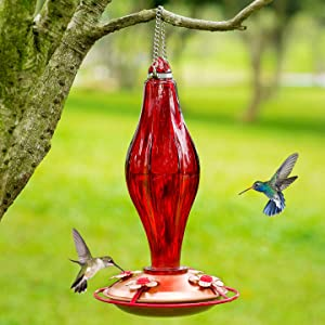 Birdream Glass Hummingbird Feeder for Outdoors 13 Ounces Nectar Capacity Vintage Red Glass Bottle with Perch 4 Feeding Ports for Yard