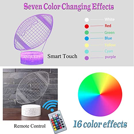 YAZOM 3D Night Light 7 Colors Changing with Remote Control and Smart Touch Gifts for Kids