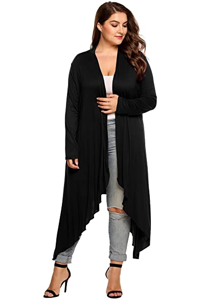Goldenfox Plus Size Long Maxi Sweaters Women Open Asymmetric ...