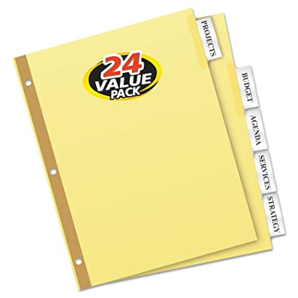 Amazon Avery 11113 Insertable Big Tab Dividers 5 Tab Letter