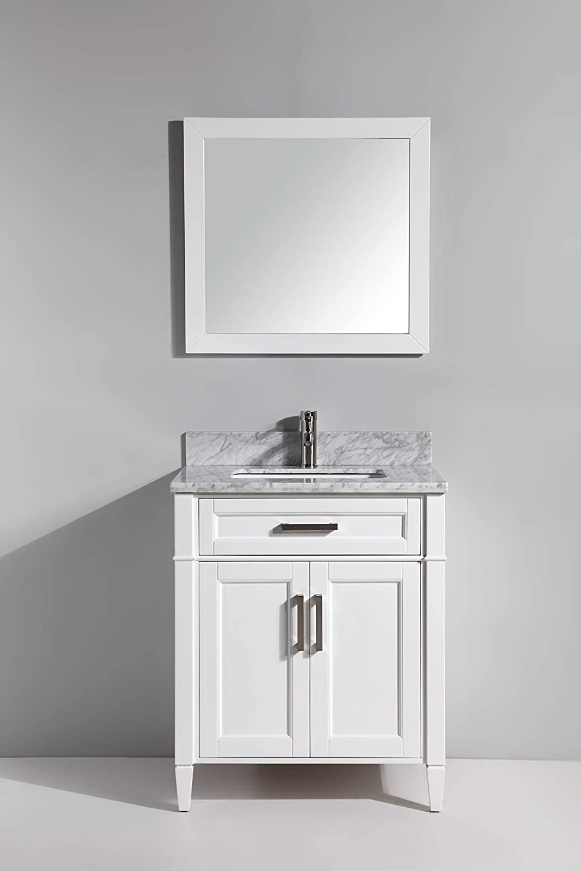 Vanity Art 30 Inches Single Sink Bathroom Vanity Set Carrara Marble Stone Top Soft Closing Doors Undermount Rectangle Sink Cabinet with Free Mirror VA2030-W