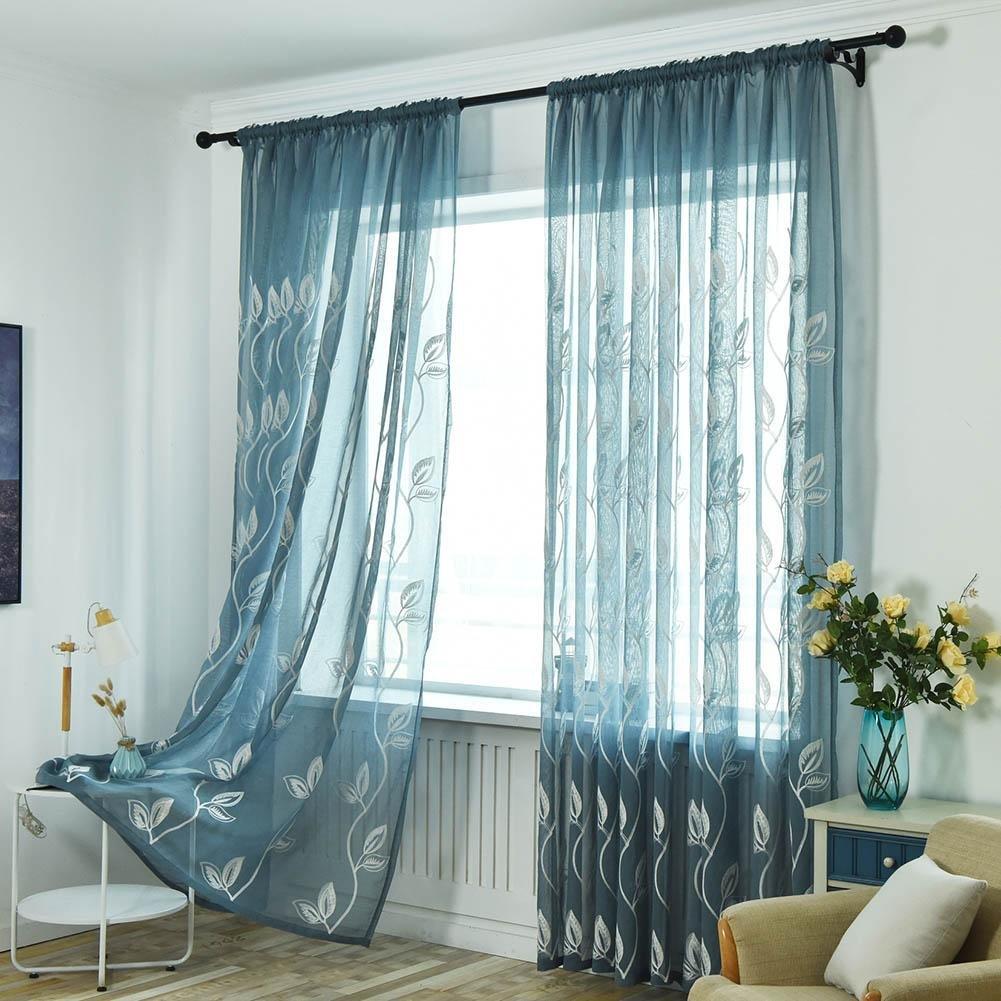 Cortina de Tul para Ventana de Hojas de Bordado Moderno para Dormitorio Mikolot
