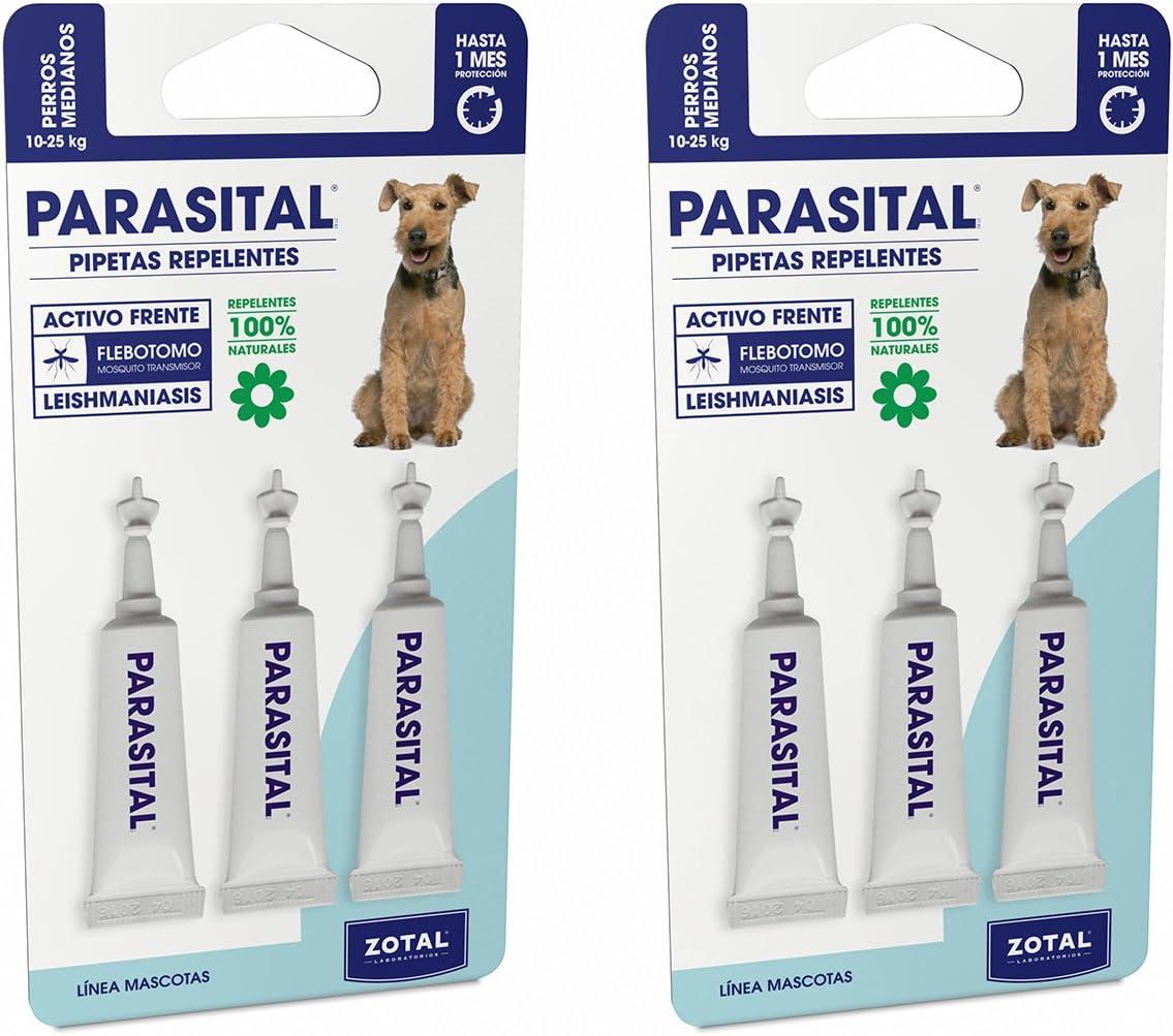 Parasital Pipetas Antiparasitarias para Perros Medianos de 10 a 25 kg - Pack de 6x2,5ml de Zotal - Activo Contra Leishmaniasis y demás Mosquitos, Pulgas y Garrapatas - Repelente 100% Natural