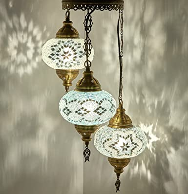 Customizable Globes DEMMEX 2019 Hard-Wired or PLUGIN 1,3,5,7,9 Globes Chandelier Lights Turkish Moroccan Mosaic Ceiling Hanging Pendant Chandelier Light Lighting 3 Globes Hardwired, 37