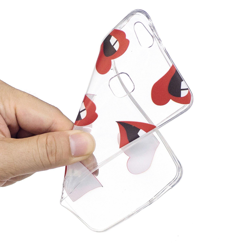 ISAKEN Funda para Huawei P10 Lite Gato Cabeza Pintura Dise/ño Crystal View Ultra Slim Carcasa de Silicona TPU en Transparente Trasera Bumper Protecci/ón Case Cover Funda C/áscara para Huawei P10 Lite
