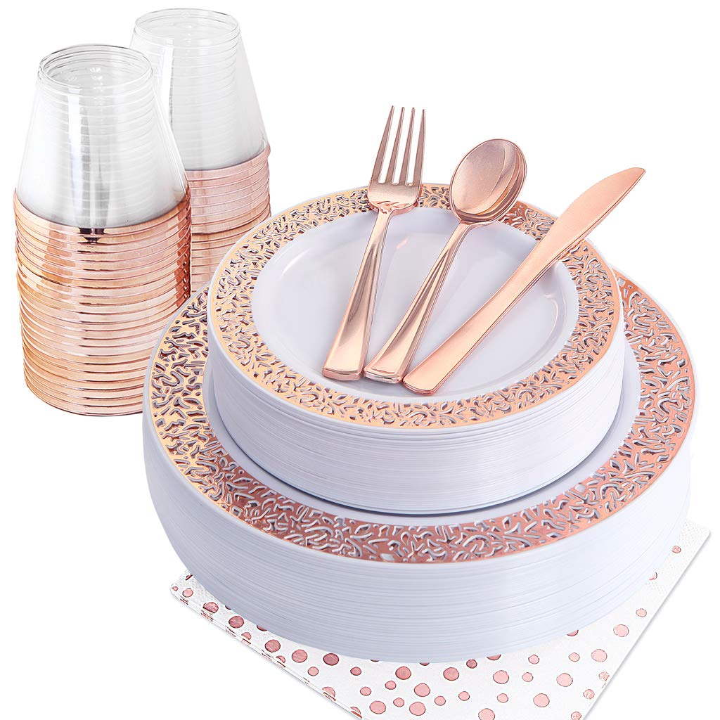 NERVURE 175PCS Rose Gold Plastic Plates & Plastic Silverware & Rose Gold Cups, 25 Disposable Plates Setting: 25 Dinner Plates,25 Dessert Plates, 25 Forks,25 Knives, 25 Spoons, 25 Cups,25 Napkins by Nervure