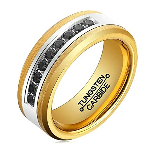 AMDXD Joyería Libre Grabado Anillos Para Hombre Fibra Oro Plateado Bandas de Boda Tamaño 15