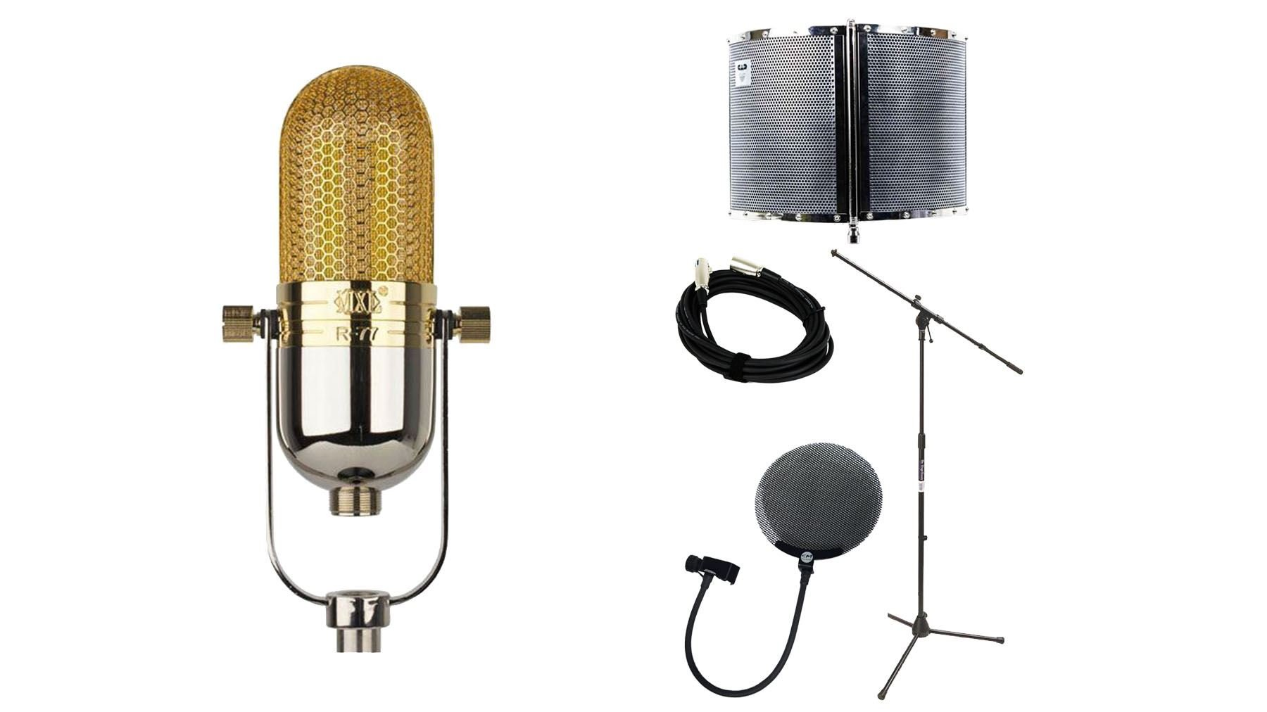 MXL R77 Microphone Bundle with 20-foot Cable & Pop Filter & Stand & CAD AS22 Acoustic Shield (5 Items)
