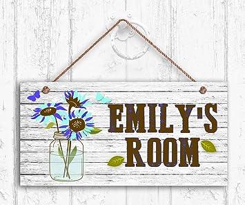 Amazon.com: Flor azul Sign, rústico flores en tarro, señal ...
