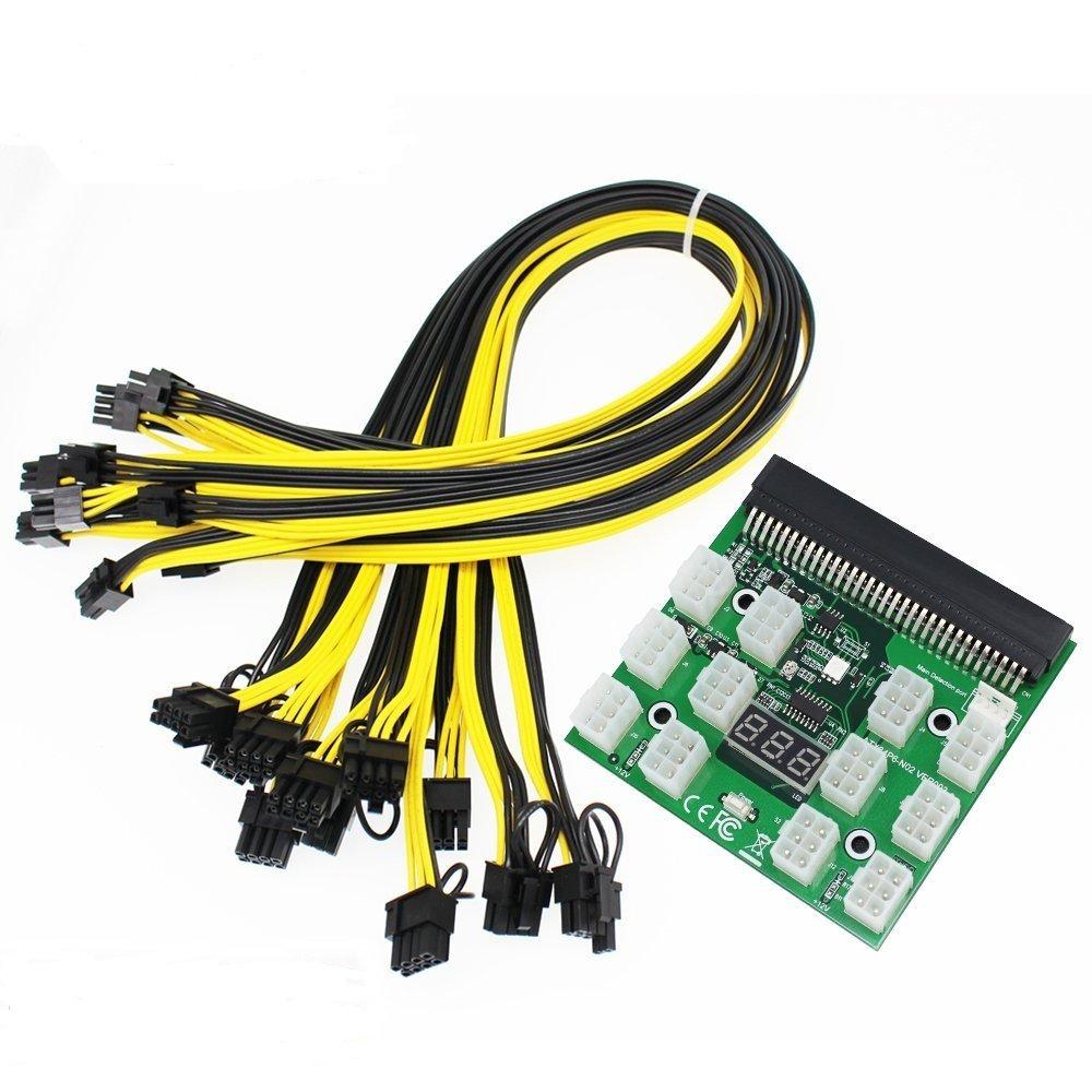 Tekit Ethereum Mining ETH ZEC LTC 1200W/750W Server PSU Power Supply Unit to GPU Breakout Board Adapter + 12pcs 6-Pin PCIe to (6+2Pin) PCIe Graphics Card Power Cables (GPU Breakout Board+12PCS cable) by tekit (Image #8)