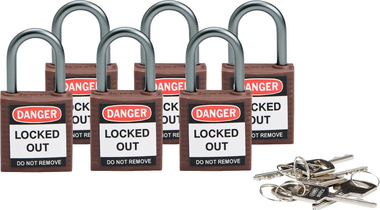 Brady 118964 Brown, Brady Compact Safety Lock - Keyed Alike (6 Locks)