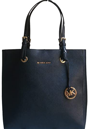 4b1acb659122 Michael Kors Jet Set Travel Large North South Tote - Black Saffiano Leather  ...