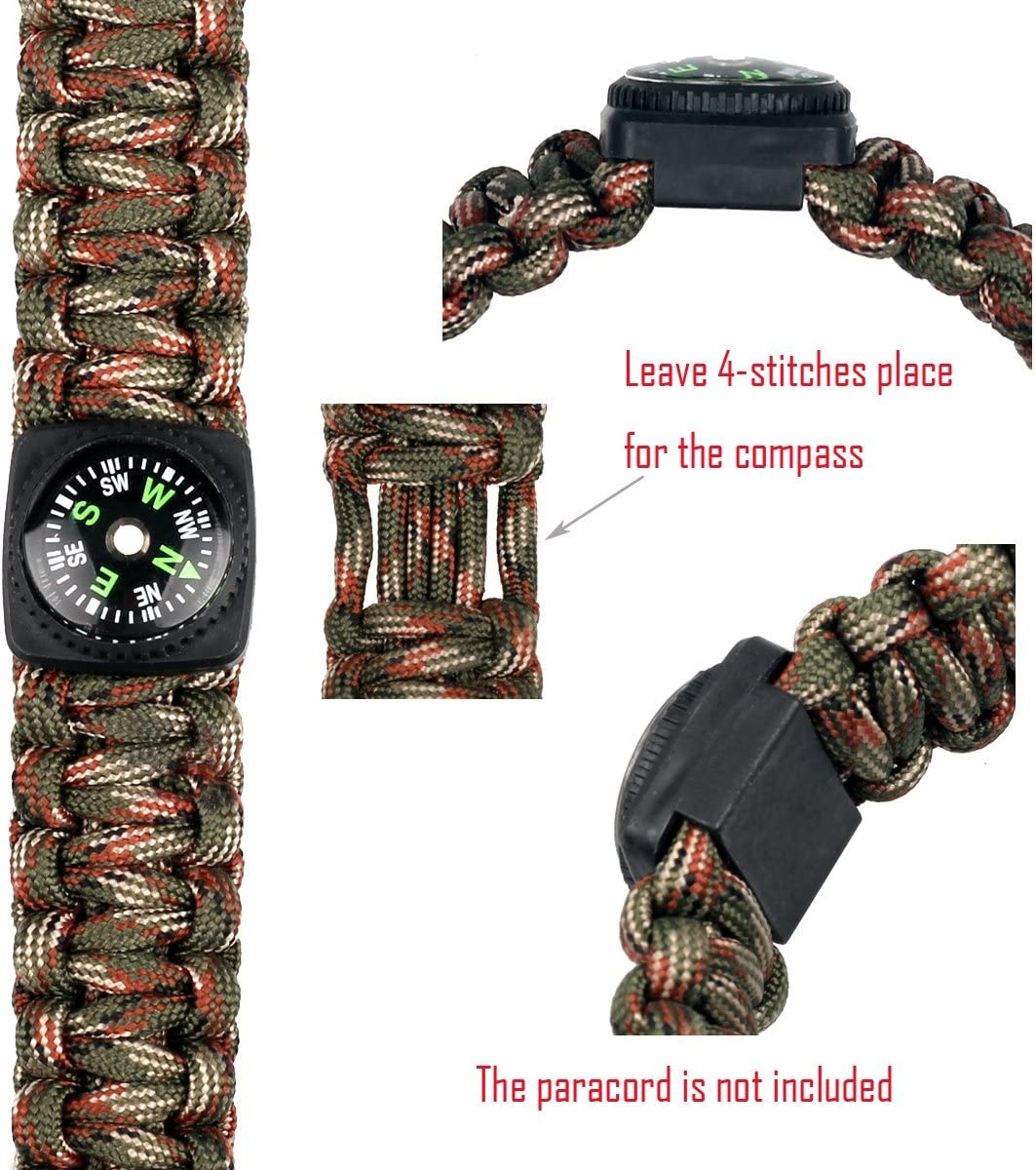 bayite Hard Shell Liquid Filled Button Compass Set for Survival Watch Band Paracord Bracelet Pack of 10 : Sports & Outdoors