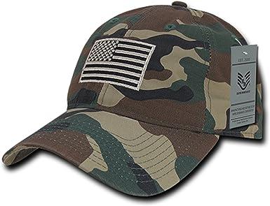 Gray Camo USA US American Flag United States America Army Polo Baseball Hat Cap