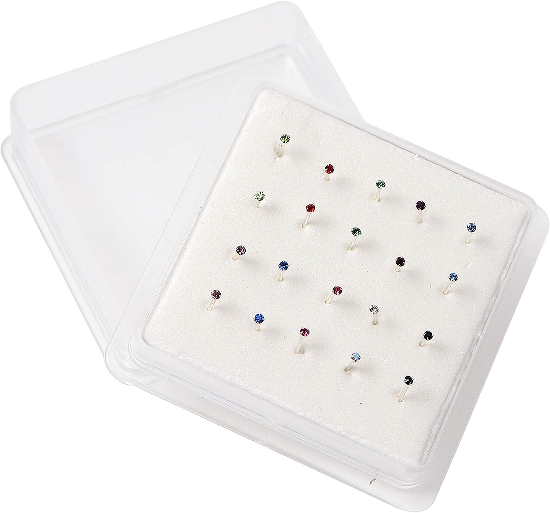 Kurtzy Tachuela para la nariz (20 piezas) - 12mm de largo con cristal de níquel libre y piercing Juego de joyas con estuche - Color surtido Joya de garra - Pendiente de nariz - Botón de la nariz
