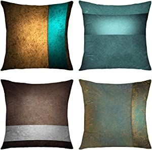GALMAXS7 Teal Brown Gold Turquoise Blue Abstract Grunge Texture Decorative Throw Pillow Covers Soft Velvet Pillow Covers Sofa Pillow Case Square Cushion Covers for Couch Bed Room 18X18 inch Set of 4