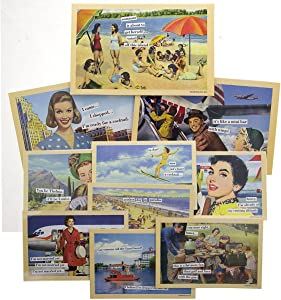 10 Pack Anne Taintor 4x6 Inch Magnetic Postcards Set Refrigerator Funny Retro Comic Art